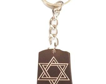 Star of David Jew Jewish Judaism Religion Religious Logo - Metal Ring Key Chain STAR OF DAVID