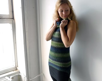 sleeveless hoodie, crochet tunic dress, cowl neck tunic - stripy ombre green blue wool - asymmetric tassel hem - S to M - women clothing