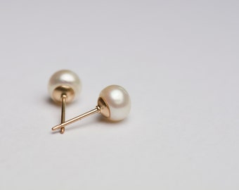 6mm Pearl studs, pearl earrings with gold filled posts/backs
