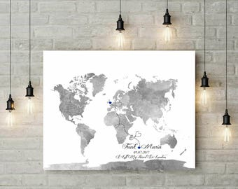 Travel Themed Wedding | Wedding Guest Book Alternative | World Map Poster | Watercolor World Map | Canvas Print | Travel Map - 70577
