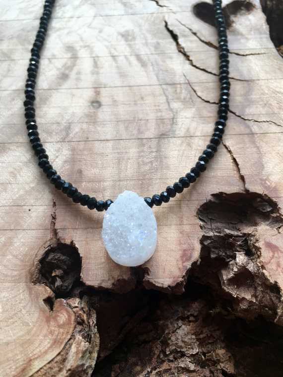 White Druzy Pendant w/Black Crystal