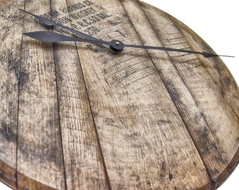 Reclaimed Bourbon Whiskey Barrel Clock - Comes Ready to Hang with Barrel Head, Backing Board and Mounting Hardware