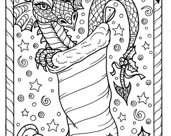 Dragon Christmas Coloring page Digital JPG file Adult color fantasy