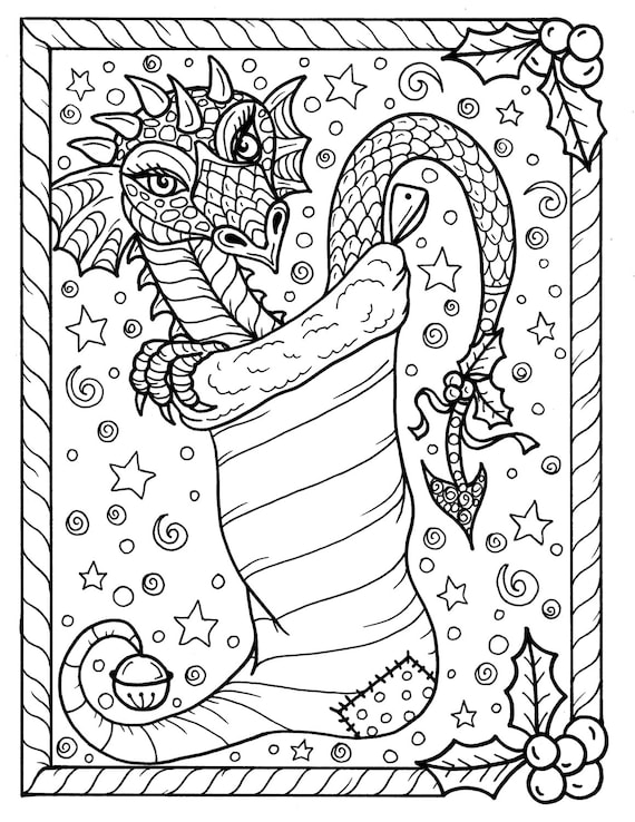 Dragon Christmas Coloring page Digital JPG file Adult color