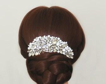 Bridal rhinestone flower hair comb