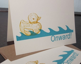Onward Rubber Ducky and Waves - 6-Pack Gocco Screen-Printed Cards