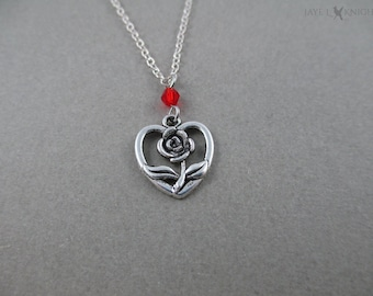Beauty and the Beast Rose Heart Charm Necklace - Silver Charms