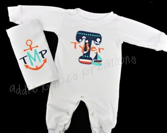 Personalized Nautical Themed Baby Sleeper and Bib OR Burpcloth Combo