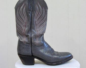 Vintage Cowboy Boots / Gray Leather FRYE Western Boots / Men's Size 9 1/2 US