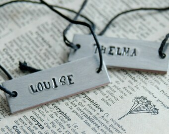 Personalized Thelma & Louise Bracelet Set Of 2 - Hand Stamped Cotton Cord By Inspired Jewelry Designs
