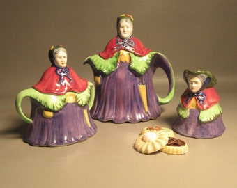 H.J. Wood Little Old Lady Majolica Teaset Includes Teapot Sugar Bowl & Creamer