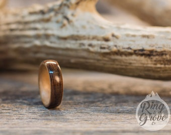 Wood Wedding band made from Birds eye maple and Walnut, Wood ring, Eco friendly ring