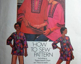 Vintage Pattern Mens Dashiki Peasant Hippie Shirt 1972 Flower Power Top Size Small 34-34