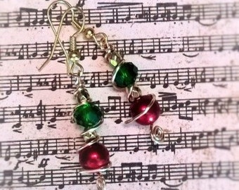 Holiday red & green earrings