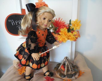 "HALLOWEEN- American Girl Costume for 18 inch dolls like American Girl®; ""Jack-O-Lanterns"" Dress, Handmade with Love!"