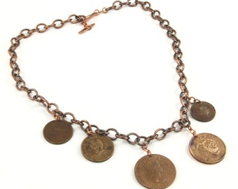 "Necklace, Vintage Copper Coin Copper Chain 24"" Necklace Artisan Designed & Crafted 