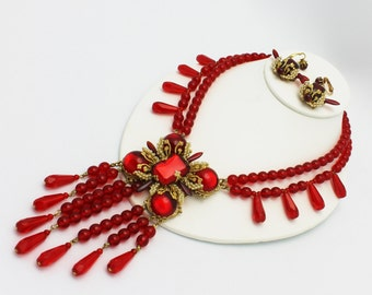 Stanley Hagler NYC Red Beads Seed Pearls Necklace and Earrings