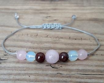 Fertility bracelet healthy pregnancy bracelet rose quartz bracelet moonstone bracelet garnet bracelet yoga jewelry for women gift for her