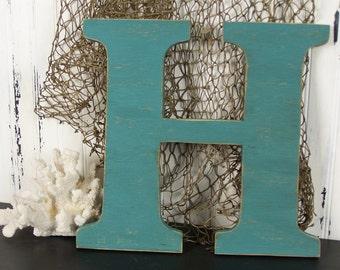 Letter H Wooden Letter Wall Decor Wood Letter H Nursery Letter Wall Letter Wedding Letter Beachy Coastal Decor Lake House Decor Any Letter