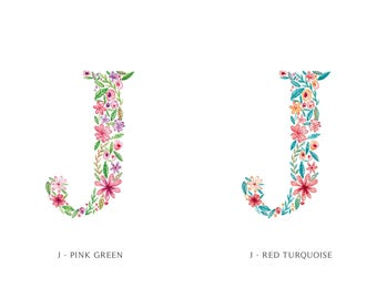 J Uppercase j | Letter, typographic, alphabet. Wall art, print, gift, watercolour, floral