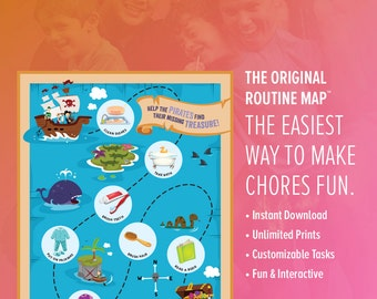Pirate Routine Map / A Better Chore Chart / Instant Download