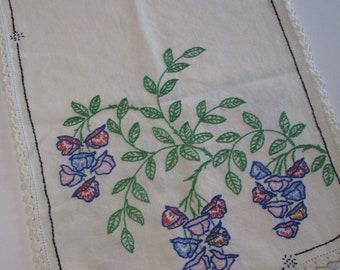 Vintage Embroidered Runner-Davenport-Buffet-Floral