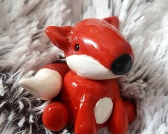 Fox Figurine - Cake Topper - Polymer Clay Kawaii Cute Ornament Decor Decorative - Valentines Gift