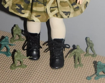 """Black lace up Boots  for Wellie Wisher dolls .   Also American Girl 18 """" size...  BOOTS ONLY in this listing."""