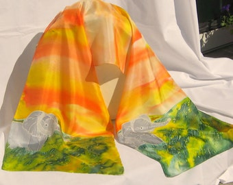 "Silk Scarf, Hand Designed, Elephants,""Walk On The Wild Side"", or  Table Runner"