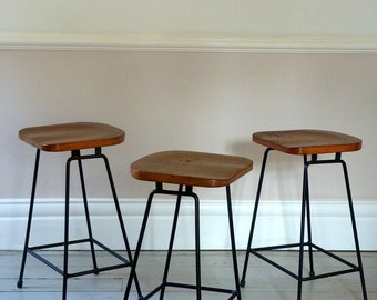Set of Three Industrial Cafe Counter Stools