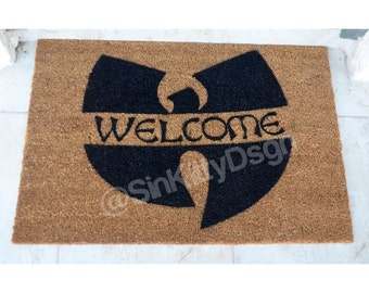 Extra Large Welcome Doormat / Wu Tang inspired Door Mat  / Hip Hop Home decor  / Housewarming Gift / Urban Home decor / Fathers day Gift