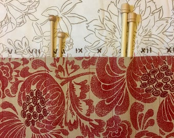 Red Tapestry with Flowers Knitting Needle Case