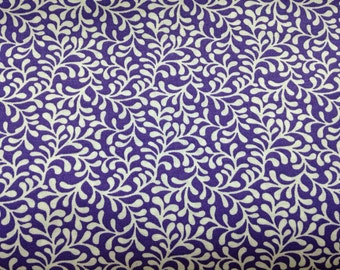 Purple fabric by the yard - purple floral fabric - purple flower fabric - purple and white fabric - #15319