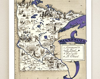 MINNESOTA MAP PRINT - may be personalized - vintage illustrated pictorial map - shown in grape color - illustrated map - wedding gift idea