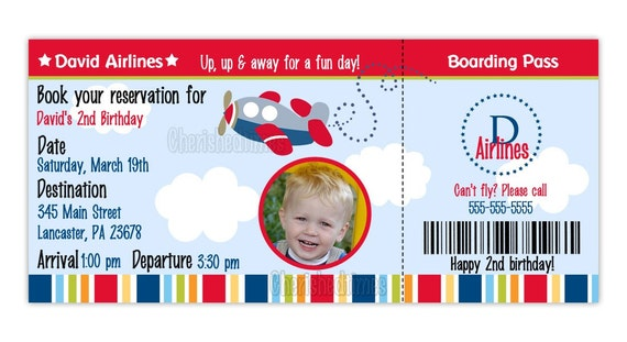 Airplane boarding pass birthday invitation boy or girl you filmwisefo