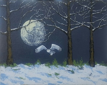 "Snowy Owl Moon Rise, acrylics on canvas panel, 8""x10"", original, signed"