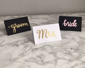 Set of Embossed Place Cards, Hand Lettered Wedding Table Name Cards, Blush Pink and Gold Mr. and Mrs. Head Table Bride and Groom Place Cards