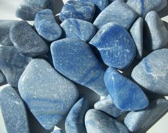 """BLUE QUARTZ TUMBLED Stone - 2"""" - 4"""" ~ 32-142 grms"""