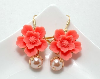 coral Floral earrings coral orange pink dangle earrings peach earrings bridesmaids wedding earrings