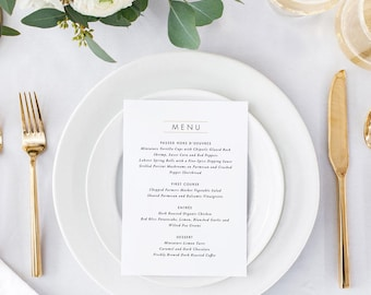 Printable Wedding Menu Printable - Modern Minimalist Wedding Menu Download - Ready to Print PDF - Letter or A4 Size (Item code: P415)