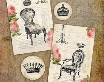 Chair Crown Chandelier - Tags - PRINTABLE Instant Download French Theme Hang Tags Gift Tags Journaling Scrapbooking Card Making Paper Crafts
