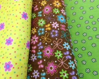 Daisy Green, brown, yellow flower, daisy flannel, lime green white yellow flowers, pink daisy, baby girl quilt fabric, by the yard