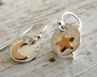 Moon and Star Earrings, Sterling Silver and Gold Toned, Tiny Earrings, love you to the moon and back, Sterling Small Earrings, Birthday Gift