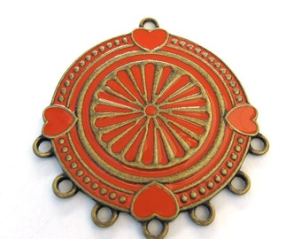 Brass  Metal, Coral/Orange Enamel 55mm x 48mm Pendant, 1060-55
