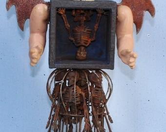 "Assemblage Found Object Shrine Mixed Media Skeletons ""Nefarious Babycakes""Halloween"