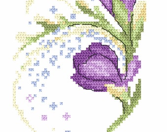 Card with freesias  Stitch Pattern, Digital  Pdf ,Graphics Counted Cross Stitch pattern in PDF  format, Painting,  Easy