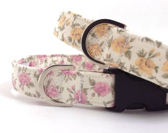 Small Roses Dog Collar | Girl Dog Collar | Floral Dog Collar | Puppy Collar | Dog Collar | Small Dog Collar | Rose Dog Collar | Pink Collar