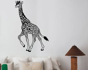 Giraffe Wall Art Decal Removable Vinyl Sticker Nature Safari African Animal Decorations for Home Living Room Wildlife Decor grf5