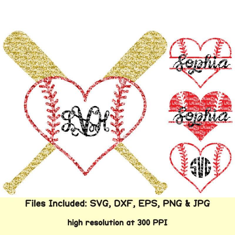 Love Softball Baseball svg Heart svg stitches laces mom bat