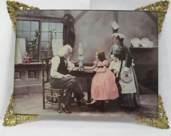 vtg glass picture, family at a table, Ulman MFG 1898, 1800s home decor, victorian home decor, family home picture, mother n child pic, 1890s